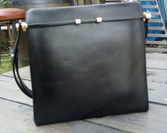Black leather hand bag from the sixties