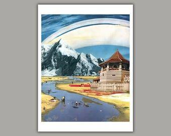 Shangri-La - Surreal Collage Art Print, wall art, retro, sci fi art, 8x10 print, 11x14 print, 12x16 print, space art