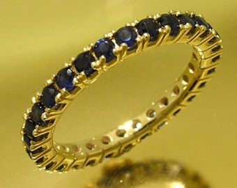 R122 Genuine 9K, 10K, 14K, 18K SOLID Yellow Rose or White Gold NATURAL Sapphire Full Eternity Ring Wedding Anniversary