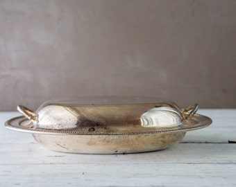 Silverplate Covered Oval Serving Dish-Food Photography Prop