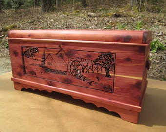 3 - D Carving into Aromatic Cedar Chest Front