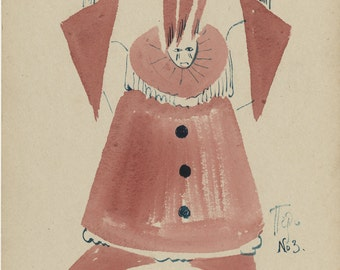 "KASYAN GOLAIZOVSKY (Russian, 1892-1970), ""Costume Design"", ca. 1930, watercolor on paper board, signed"