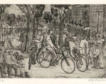 """PHILIP REISMAN (American, 1904-1992), """"Veterans"""", 1931, original etching, pencil signed."""