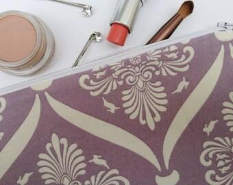 Purple make-up bag, fabric make-up bag, overnight pouch, purple toiletry bag, lilac gift, purple gift