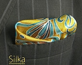 SILK pocket square blue Hand painted wedding accessories yellow OOAK Groomsmen gift boyfriend