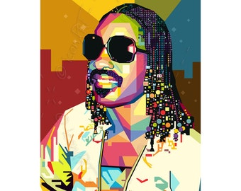 Tribute to Stevie Wonder FRAMED ART, personalized gift, pop art, Name, Large, Wall Art, Kunstdruck, gift for women, gift for men