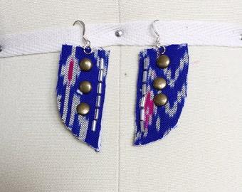 Blue and White Ikat Thai Silk Earrings