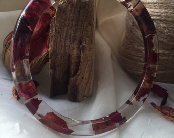 Bracelet epoxy resin with red rose