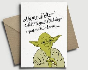 Star Wars Yoda Personalised Birthday Card