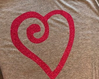 Big glittery hot pink heart on a soft gray tshirt, cute Valentine's Day shirt