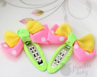 Spring Colors Ribbon Bow Hair Snap Clips, Green, Pink & Yellow Spring Colors Easter, Pair