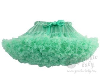 Mint Green Pettiskirt, Deluxe Fluffy Chiffon Pettiskirt for Girls