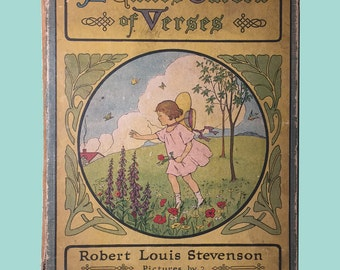 "Antique Children's Book, ""A Child's Garden of Verses, Robert Louis Stevenson, Whitman Publishing Co., 1917, Illistrated"