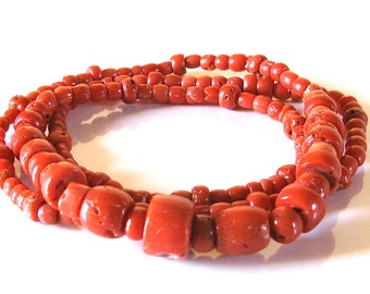 Necklace of antique coral trade beads.