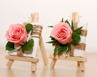 A pair of preserved roses, pink-preserved rose petals on 2 mini-wedge Frames