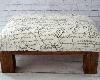 Upholstered Footstool Ottoman Script   Rustic Ottoman   Pouf   Living Room  Wood Furniture   Fabric