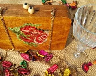 Wood clutch bag cross stitched