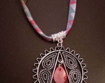 Liberty fabric with silver pendant necklace