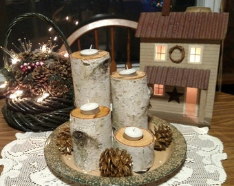 Beautiful Real White Birch Tea Light Candle Holders- Set of 4