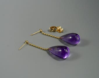 Amethyst 14k gold earrings, Amethyst  14k dangle earrings, Drop shape Amethyst 14k gold earrings