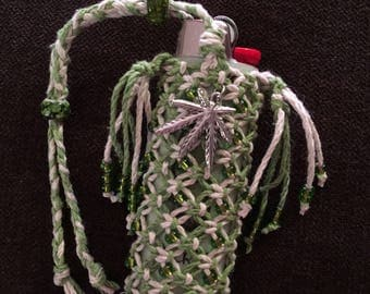 Handmade macrame hemp lighter leash