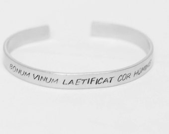 Bonum Vinum Laetificat Cor Hominis / Good Wine Gladdens A Man's Heart / Latin Quote Jewelry / Wine Lovers Jewelry / Wine Lovers Bracelet