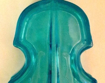 VINTAGE  CANDY DISH violin shaped turquoise glass