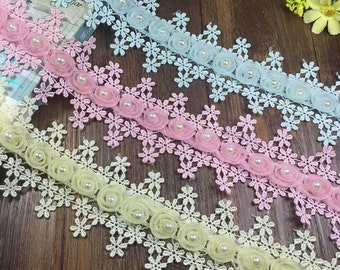 10 Yard 2 Inch Wide Polyester Europium Yarn Embroidery Lace for  Craft Project, DIY Clothing, Dress Skirt, Cloth Accessory, Free Ship