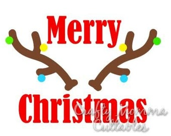 Merry Christmas SVG file // Antlers SVG // Christmas Cut File // Christmas SVG // Cut File // Silhouette File // Cutting File //