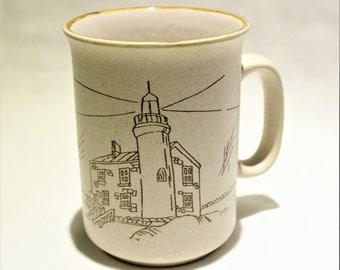 Vintage Mug, Coffee Mug, Lighthouse, Handmade from Corée Collection Manoir - AgeOldGold