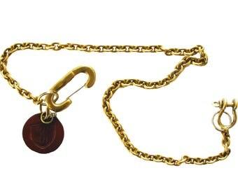 Solid brass updn keychain & wallet chain