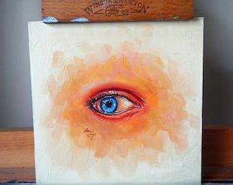 Eye Study II - Original Mini Oil Painting Artwork on MDF Board