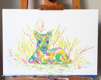 Fawn - Original Oil Paint Artwork on Wood Panel
