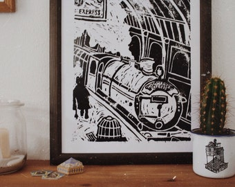 Platform 9 and 3/4 - Harry Potter - Linocut Poster
