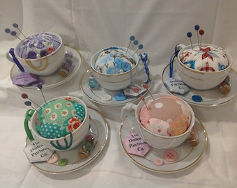 Handmade English Patchwork Teacup Pincushion