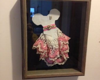 Vintage doily Dress in Rustic Shadow Box