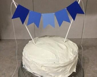 Blue Cake Banner, Boy Cake Banner, Cake Bunting Banner, Boy Cake Topper, Blue Cake Topper, First Birthday Cake Decoration