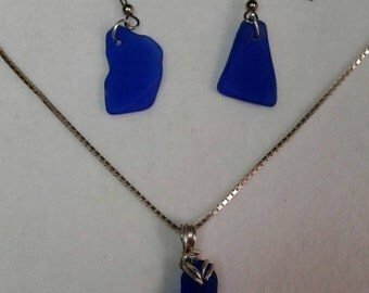 Cobalt blue pendant and matching earrings sterling silver chain