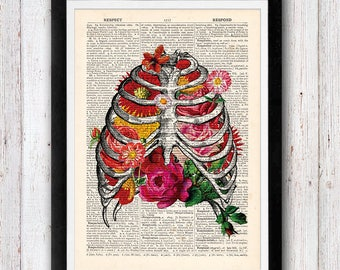 Flowers Anatomy Wall Art, Human Anatomy, Rib Cage with Flowers Print, Anatomy Dictionary Print