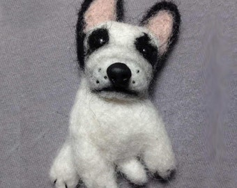 French Bulldog, Felted brooch, Pet jewelry, Needle felted dog, Pet lover gift, Wool jewelry,  Miniature dog, Felted dog, Badge