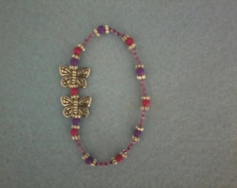 Purple and Pink Beaded Girl's Bracelet with Silvertone Butterflies