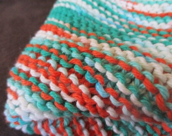 Hand Knit Cotton Baby Blanket: White, Teal & Coral