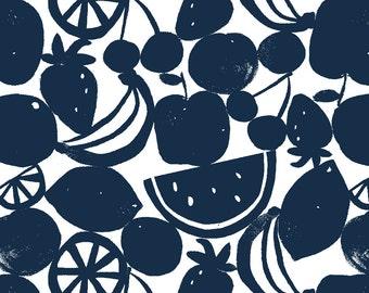 fruit print fabric NAVY