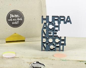 Hooray! Oh no. But not.  -3 D miniature logo