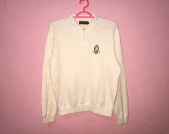 Rare!! Vintage Chaps Ralph Lauren Cream Colors Spellout Embroidery Pullover Jumper Sweatshirt