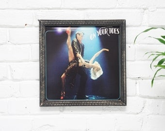 Wall Decor, Vintage Vinyl Cover, Handmade Wooden Rustic Frame, On Your Toes Wall Art