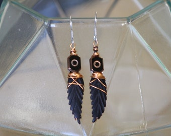 Wooden leaf and copper dangles