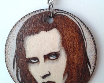 Marilyn Manson Wood burned Portrait Circle Necklace