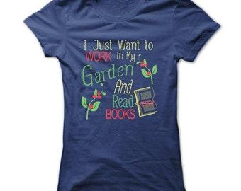 GARDENING AND BOOKS T-shirt.Gardening T-shirt.Garden T-shirt.Gardening Tee.Gardening shirt.Gardening gift.Ladies gardening shirt.
