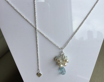 Blue Topaz and Pearl cluster